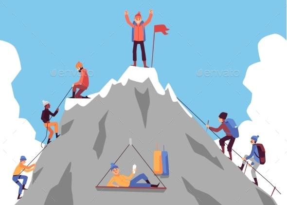 Cartoon People Climbing Mountain and Happy Man - Sports/Activity Conceptual