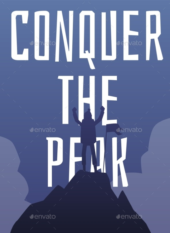 Conquer the Peak - Saying with Climbing Man Flat - Sports/Activity Conceptual