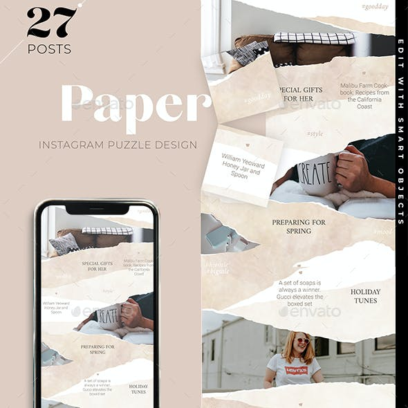 Torn Paper Instagram Puzzle Design Template for blogging and Instagram business
