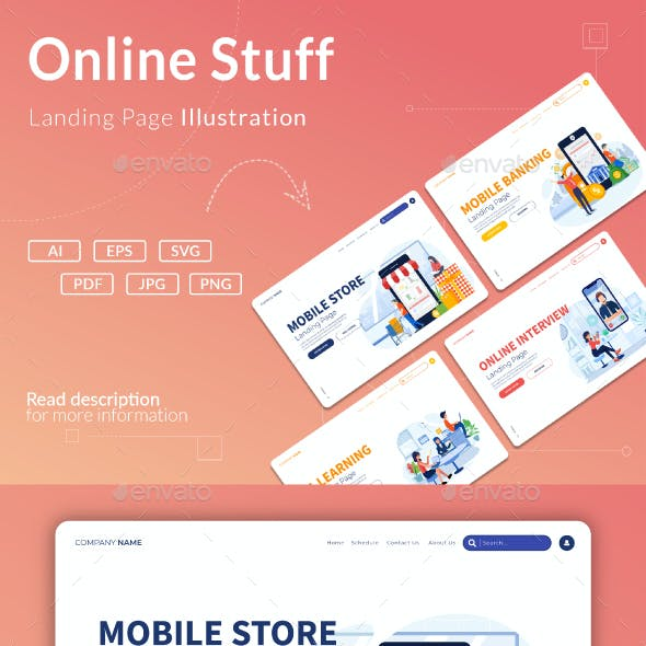 Online Interactions - Landing Page Illustration Templates