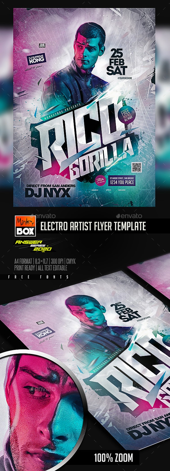 Electro Artist Flyer Template - Clubs & Parties Events