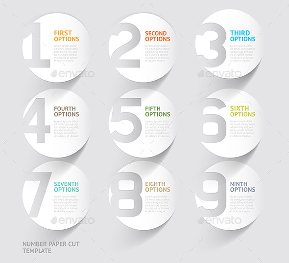 Number Paper Cut Template - Infographics