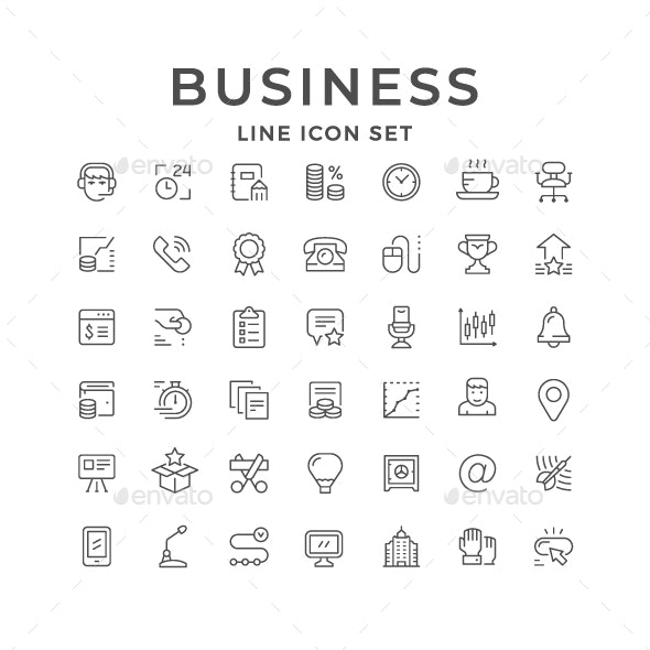 Set Line Icons of Business - Business Icons