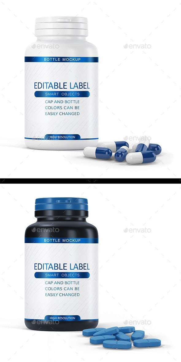 Pill Bottle and pills/capsules - Product Mock-Ups Graphics