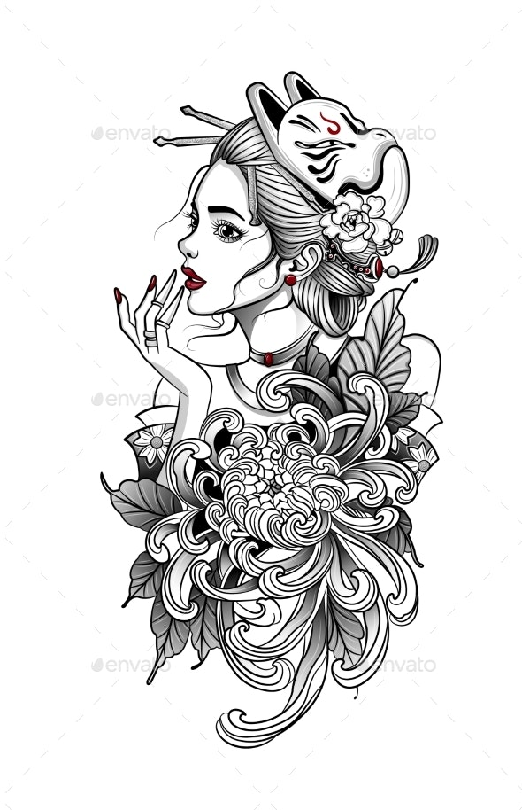 Japanese Geisha in Flowers with Fox Mask - Miscellaneous Vectors