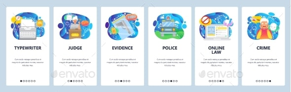 Mobile App Onboarding Screens Crime and Justice - Web Elements Vectors