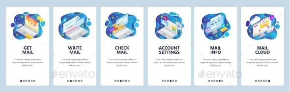 Mobile App Onboarding Screens Business Emails - Web Elements Vectors