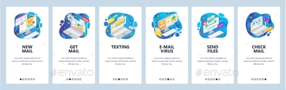 Mobile App Onboarding Screens Email Business - Web Elements Vectors