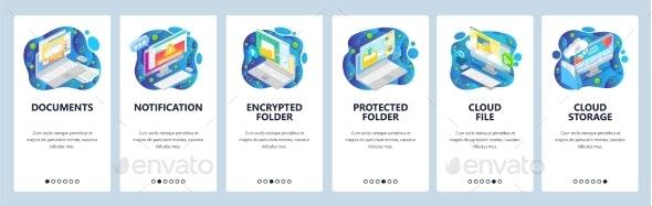 Mobile App Onboarding Screens Secure Cloud - Web Elements Vectors
