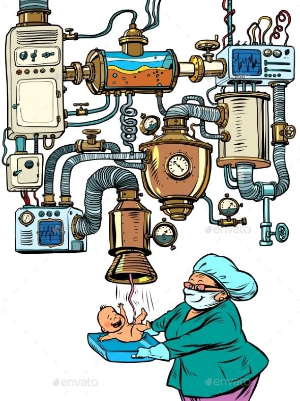 Midwife and Newborn, Maternity Hospital Concept - Health/Medicine Conceptual