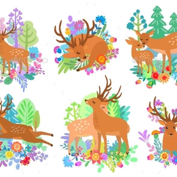 Deer Cute Animal Cartoon Set Flat Style Vector