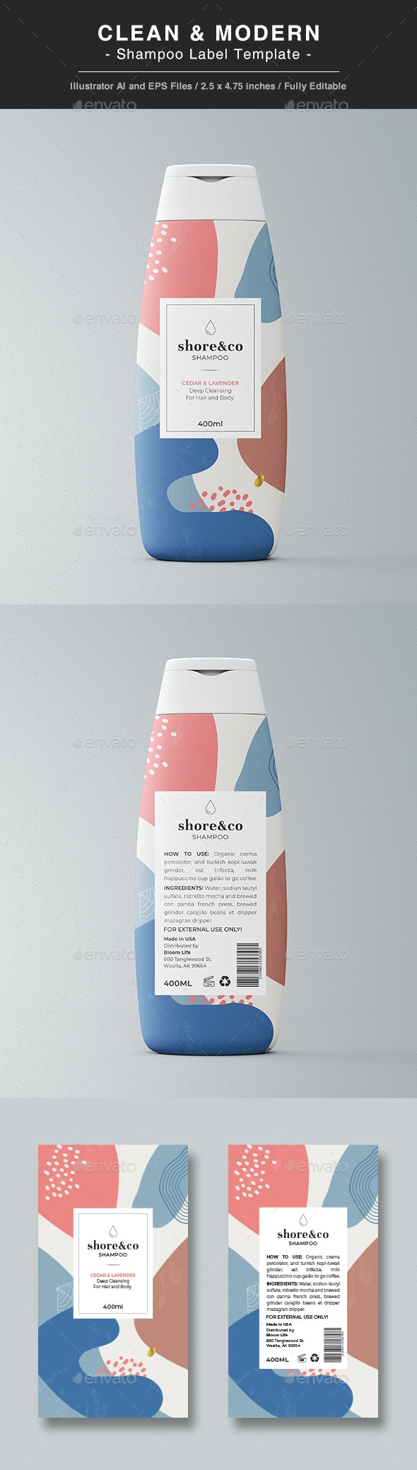Shampoo Label Template - Packaging Print Templates