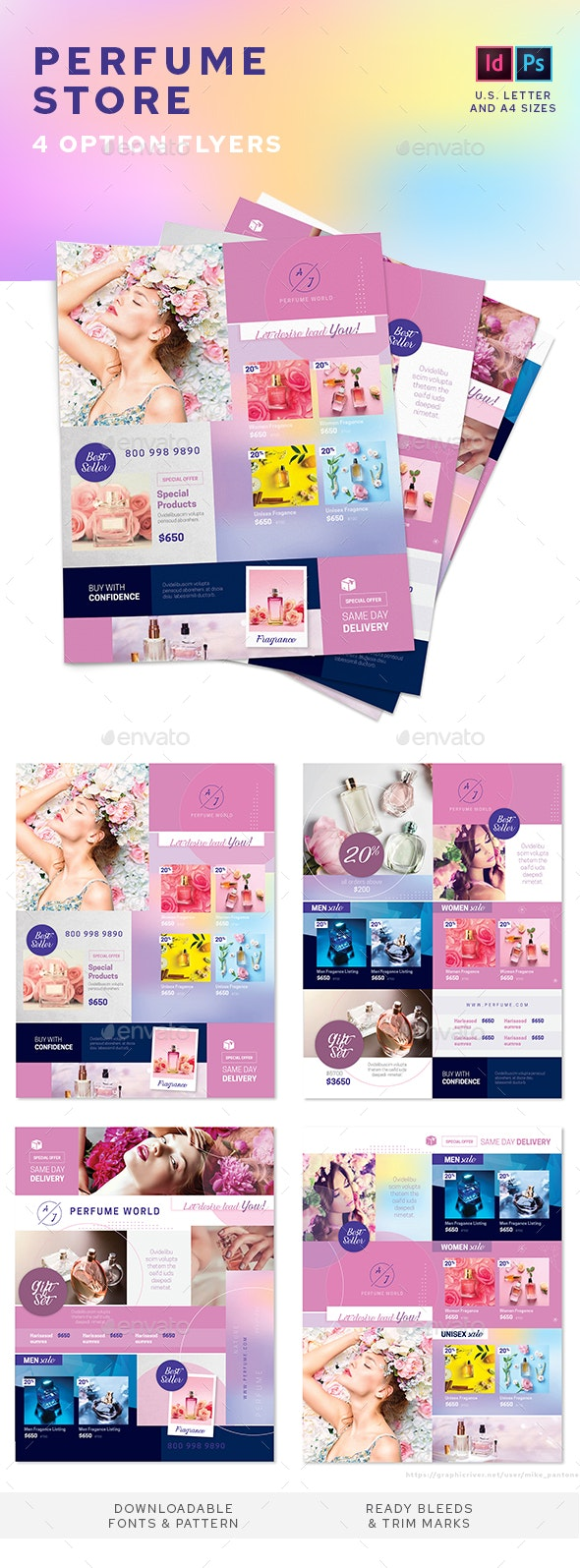 Perfume Store Flyers – 4 Options - Commerce Flyers