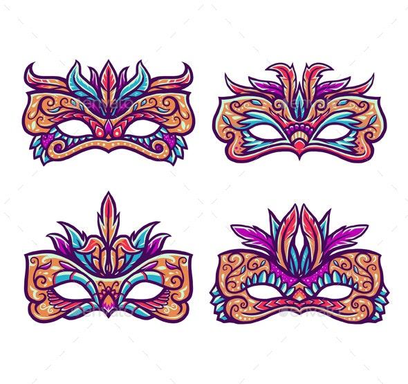 Set of Carnival Masks - Miscellaneous Seasons/Holidays