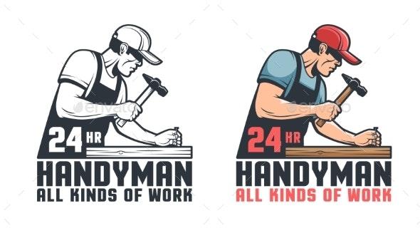 Handyman Retro Worker Hammering Nail - Industries Business