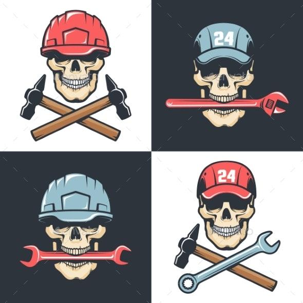 Mechanic Repair Service Vintage Skull Emblems - Industries Business