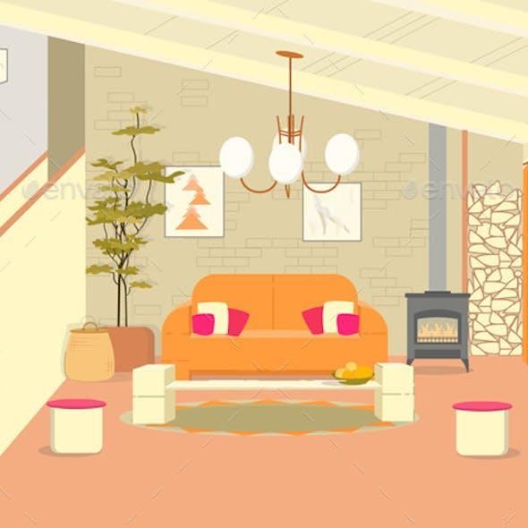 Energetic Loft Style Designer Eclectic Living Room