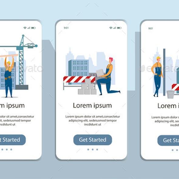 Builder at Construction Site Mobile App Page Set