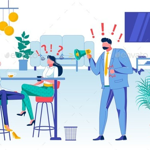 Company Staff Relations Flat Vector Illustration