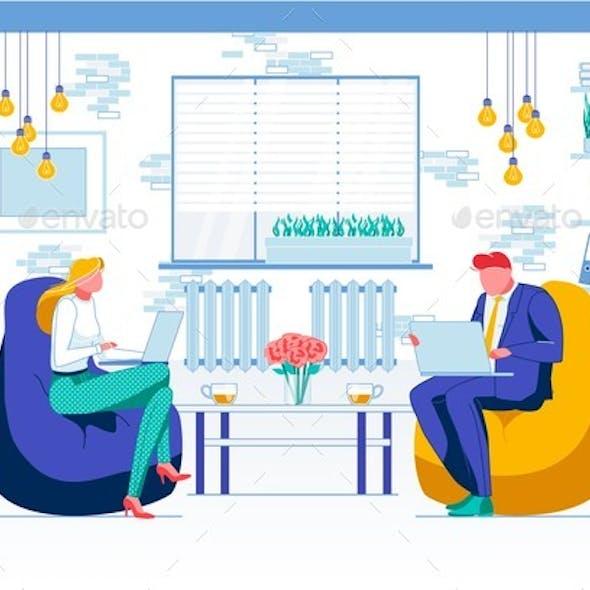 Lounge Zone, Rest Corner Flat Vector Illustration