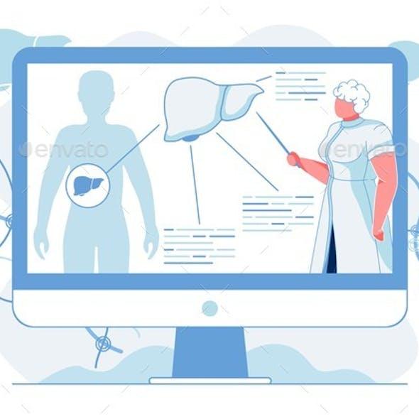 Liver Anatomy Description Flat Vector Illustration