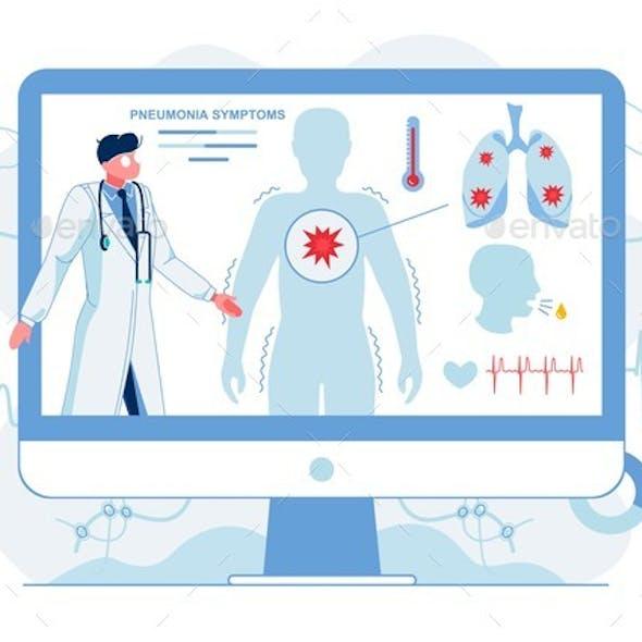 Doctor Describing Pneumonia Symptoms Illustration