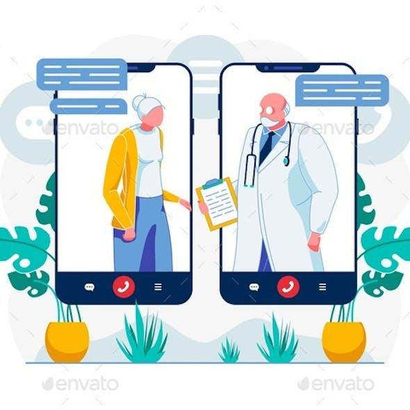 Telemedicine Video Call Technology Illustration