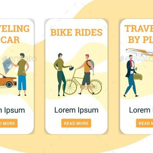 Traveling By Plane, Car and Bike Riders Mobile App