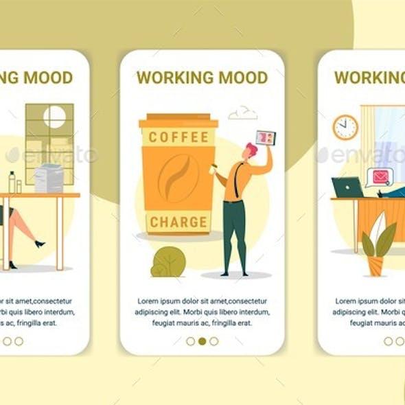Working Mood Vector Onboarding App Screen Template
