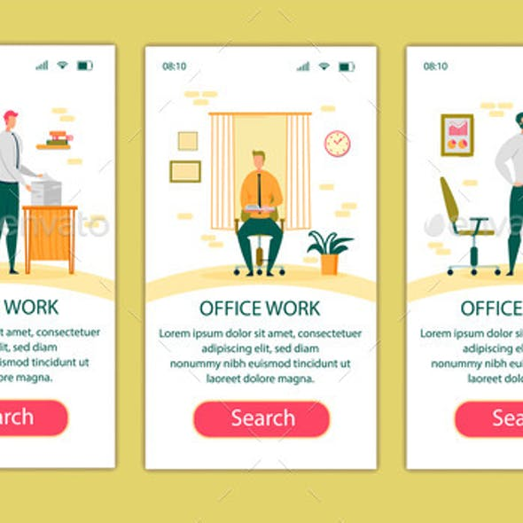Office Work Mobile App Page Onboard Screen Set