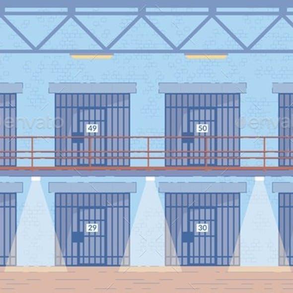 Prison Corridors Cells Doors Vector Background.