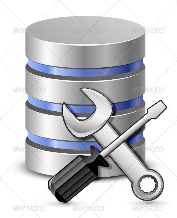 Screwdriver, Spanner and Database Icon - Computers Technology