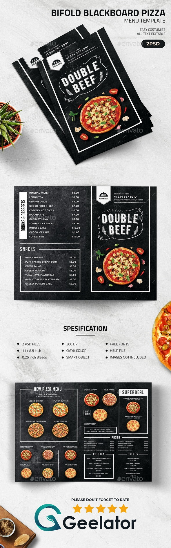 Bifold Blackboard Pizza Menu Template - CD & DVD Artwork Print Templates