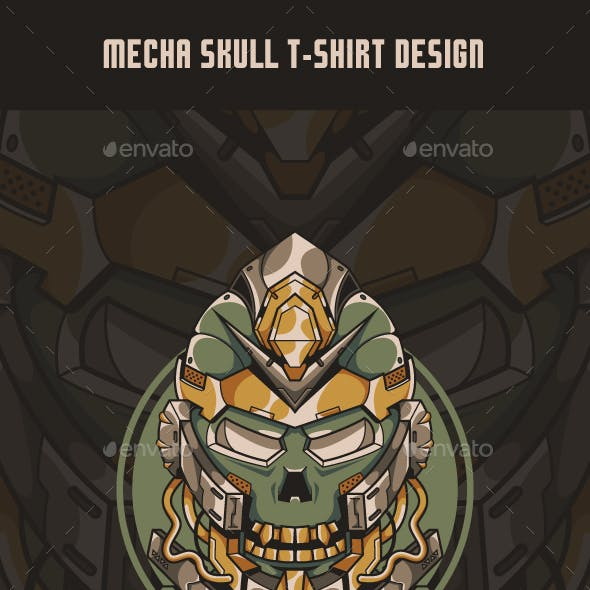 Mecha Skull T-Shirt Design