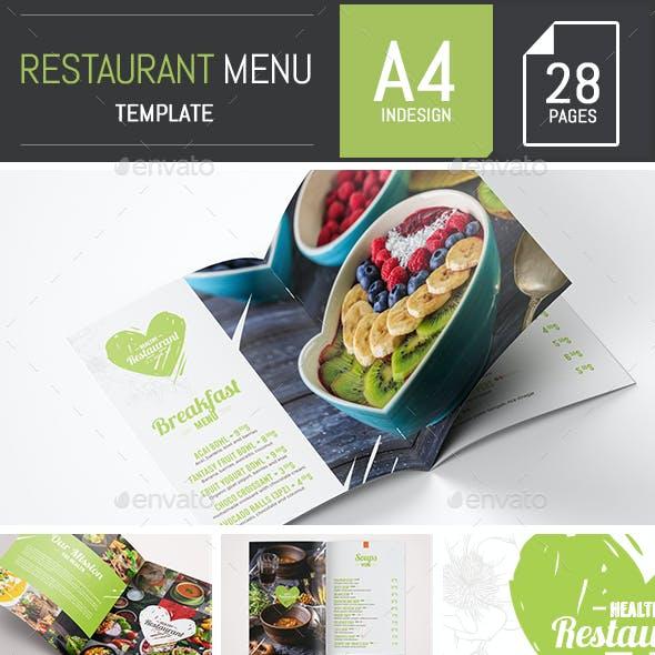 Elegant and Fresh Food / Restaurant Menu A4 Brochure Template - InDesign