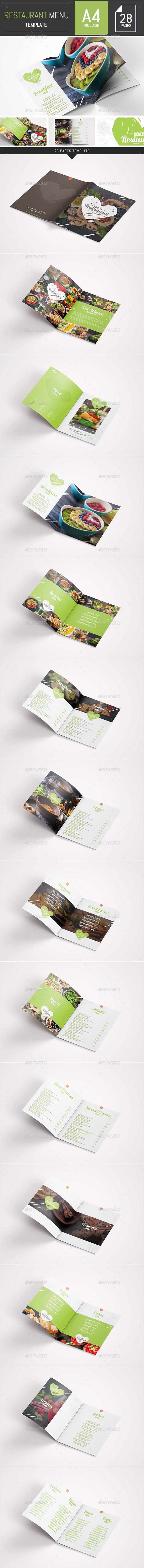 Elegant and Fresh Food / Restaurant Menu A4 Brochure Template - InDesign - Food Menus Print Templates