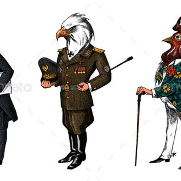 Bird Man, Bald Eagle and Marabou Head in Military