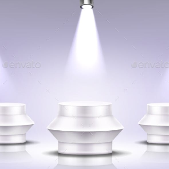 Podium with Spotlight Illumination, Round Stage