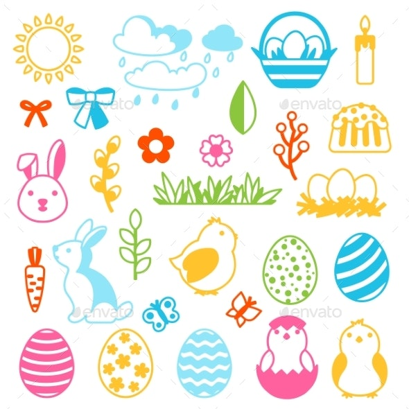 Happy Easter Set of Holiday Items - Miscellaneous Seasons/Holidays