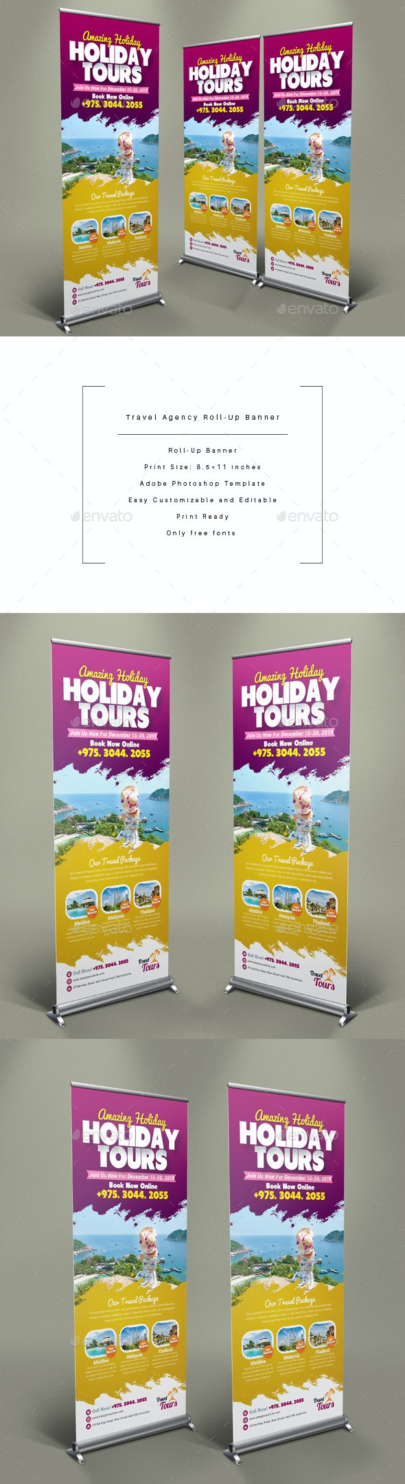 Travel Agency Roll-Up Banner - Signage Print Templates
