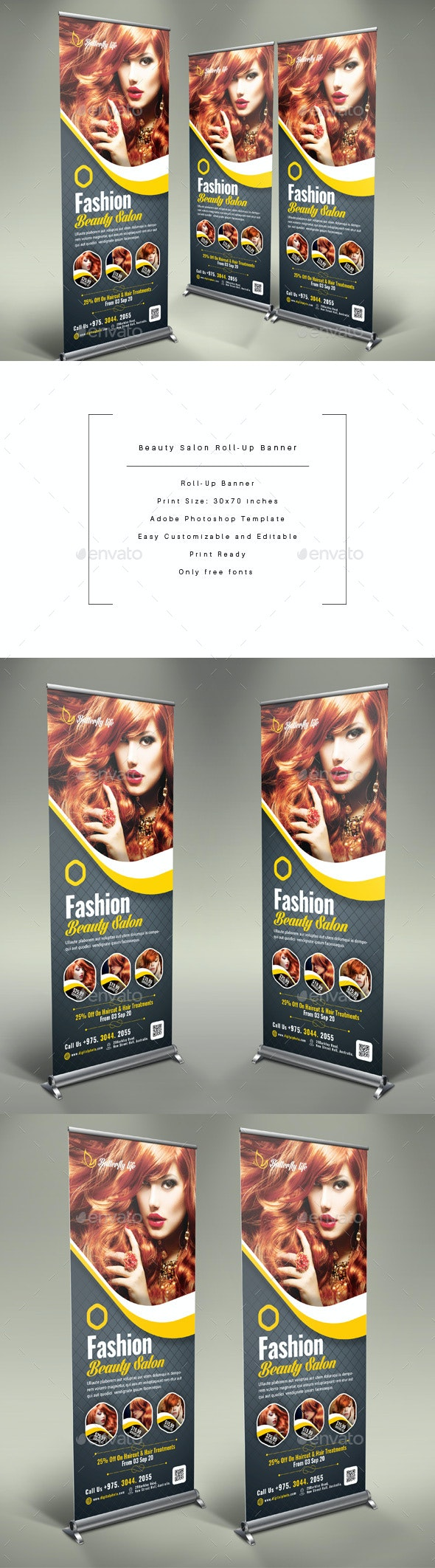 Beauty Salon Roll-Up Banner - Signage Print Templates