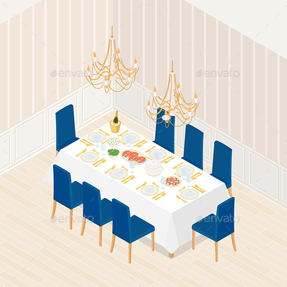 Isometric Dinning Room - Man-made Objects Objects