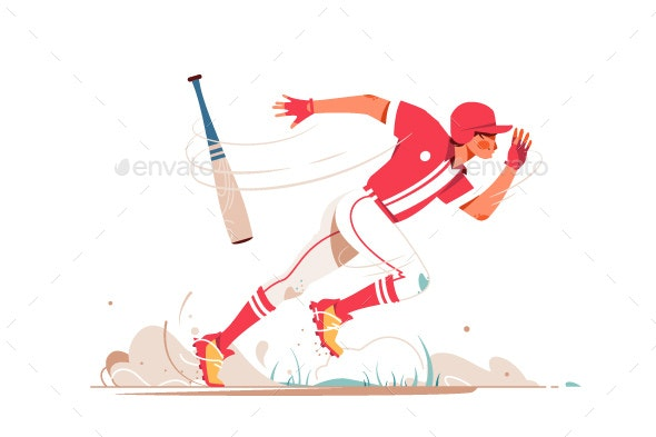Professional Baseball Player Running After Ball - Sports/Activity Conceptual