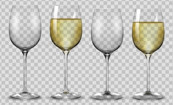 Full and Empty White Wine Glasses Vector - Food Objects