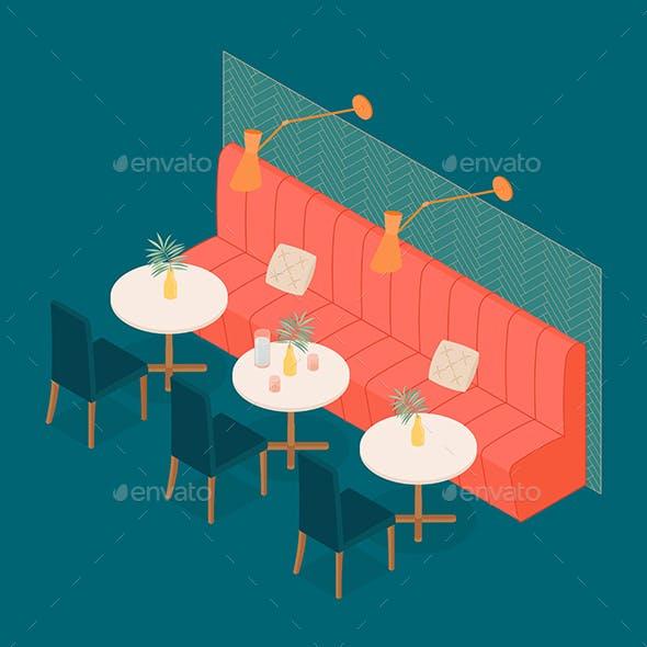Modern Isometric Hotel Restaurant