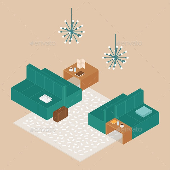 Modern Isometric Hotel Lobby - Man-made Objects Objects