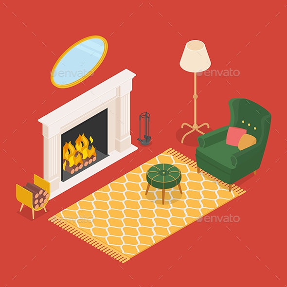 Isometric Living Room with Fireplace - Man-made Objects Objects