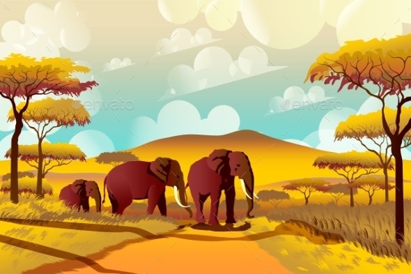 A Group of Elephants in the Savannah - Animals Characters