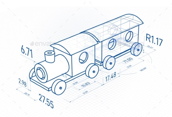 Toy Train with Drawing Design Elements - Miscellaneous Vectors