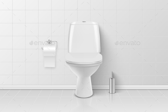 Vector Realistic White Ceramic Toilet - Man-made Objects Objects